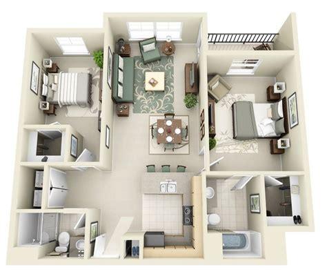 50 Two 2 Bedroom Apartment/House Plans 3d house plans