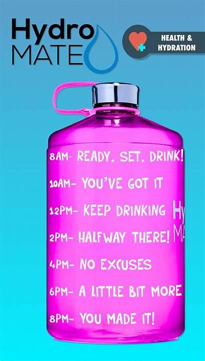 Water Bottle Gallon Motivational Drink Times Hydromate