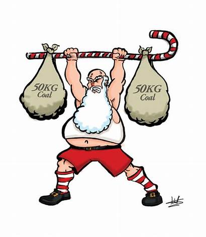 Powerlifting Cartoon Clipart Santa Cartoons Lifting Weights
