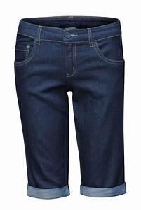 Womenu0026#39;s Modest Bermuda Knee-Length Shorts in Dark Blue Denim