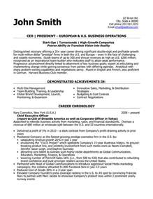 resume for ceo position ceo president resume template premium resume sles exle