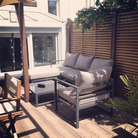 salon de jardin 5 places acatium en aluminium modulable