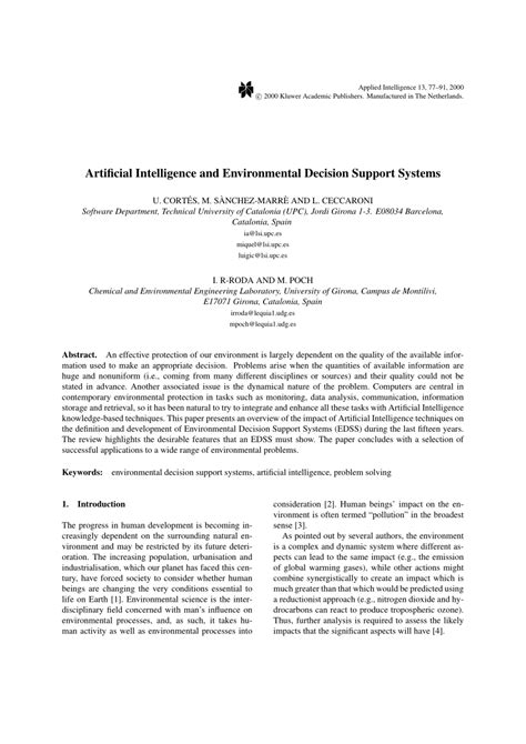 (PDF) Artificial Intelligence and Environmental Decision