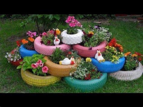 como decorar jardines  llantas recicladas youtube