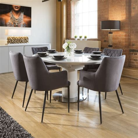 extending  oval dining set white gloss table  grey