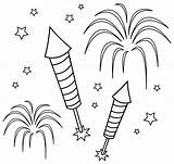 Fireworks Clip Fun Colorable Coloring Line Sweetclipart sketch template