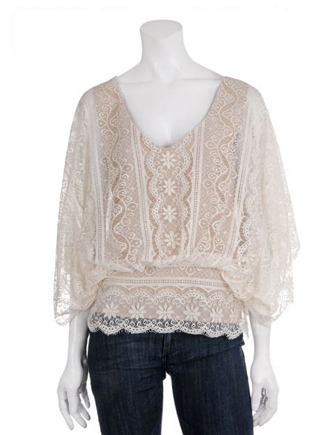 lace blouse beyond vintage batwing lace blouse in white ivory lyst