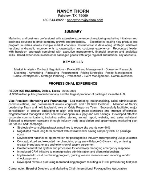 marketing resume summary 28 images marketing resume