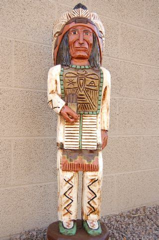 antique carved wooden cigar store indian chief native american