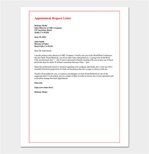 appointment request letter  letter samples formats