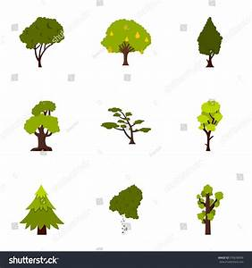Arboreal Plant Icons Set Flat Illustration Stock ...