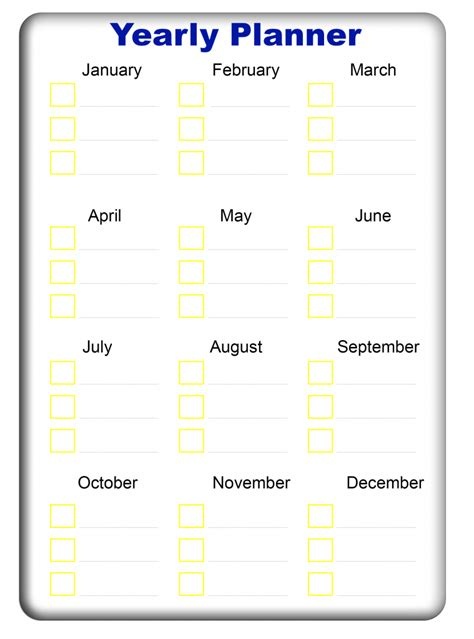 yearly planner templates   excel word