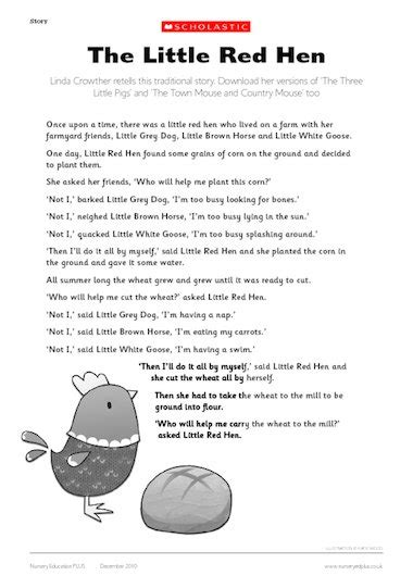 Little Red Hen Story Printable