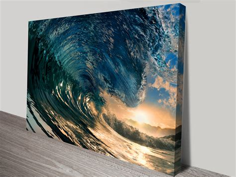 crystal waves surfing art canvas print sunset wave wall