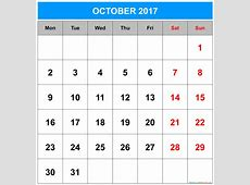 October 2017 Calendar With Holidays weekly calendar template