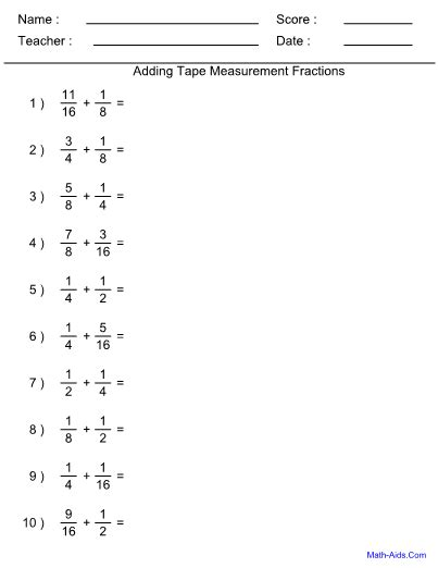 tape measure worksheet