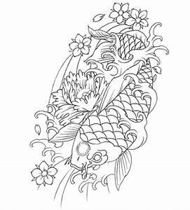 Japanese Koi Fish Tattoo Outline