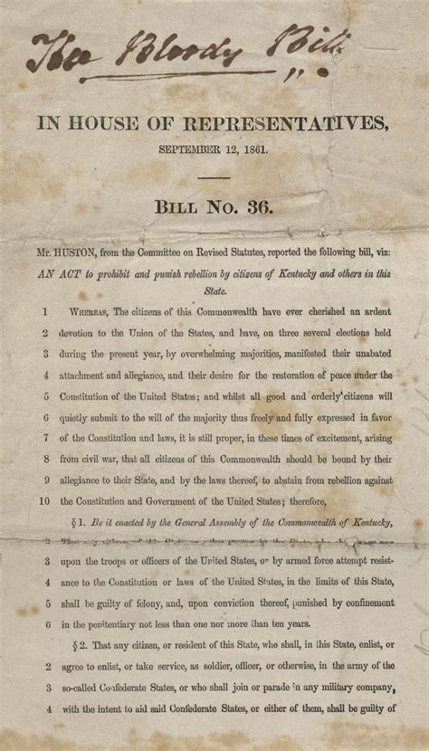 Kentucky House Bill No. 36, 1861 | A State Divided | PBS ...