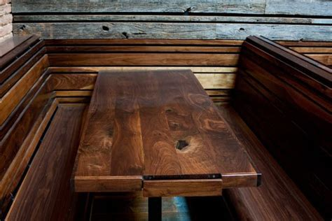 restaurant booth table with built in beer menu   Lost