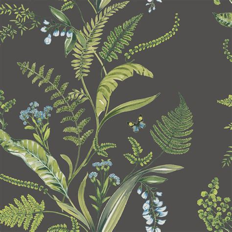 fern flowers green floral wallpaper product code