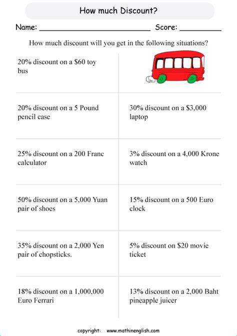 money discount worksheets percentage math worksheets percent decimal and money