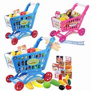 Children Shopping Trolley Cart Play Food Set Kids Pretend ...