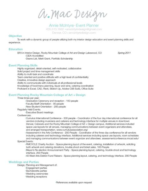 sle resume objectives for event coordinator wedding
