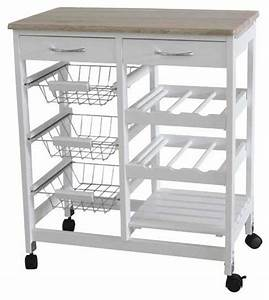 Kitchen Trolley with 2 Drawers and Baskets - Farmhouse