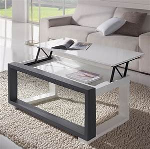 la table basse relevable pour votre salon fonctionnel With tapis pour table basse