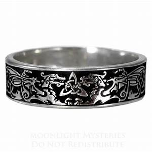 Narrow Celtic Dragon Ring Triquetra Medieval Renaissance