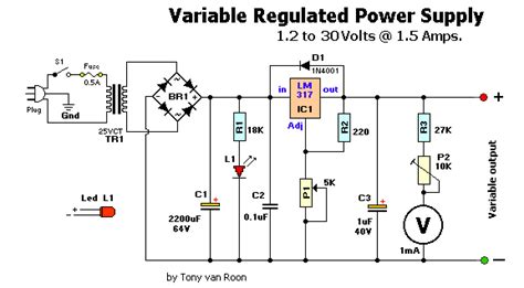Schematic Diagram Variable Power Supply Volts