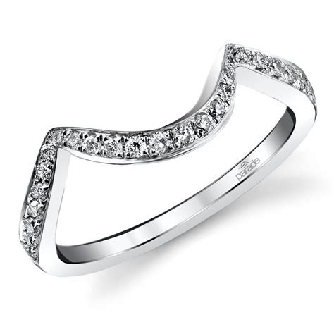 bypass style matching diamond wedding ring in white gold by parade