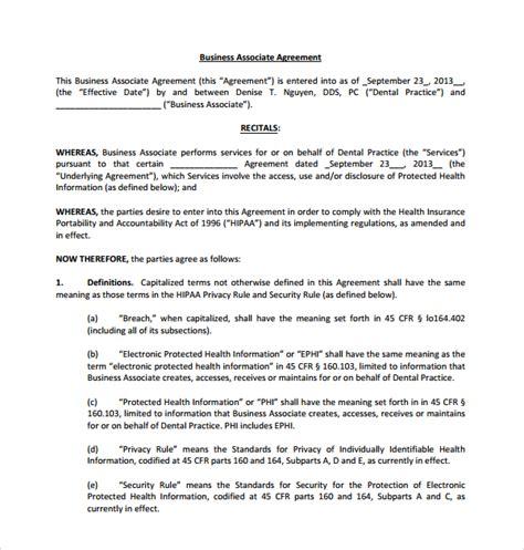 business associate agreement template sle business associate agreement 9 free documents in word pdf