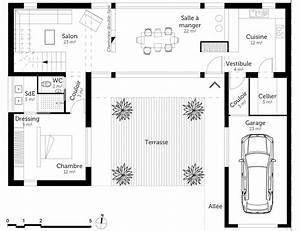 plan maison moderne en u ooreka With plan de maison en u gratuit
