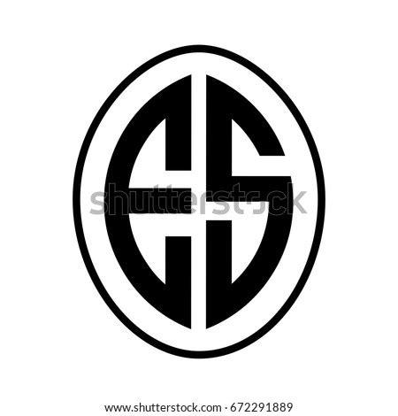 black monogram curved oval shape initial stock vector  shutterstock
