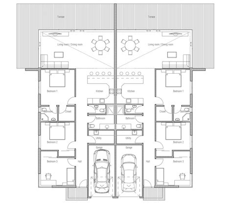 duplex house chd house plan   families house plan