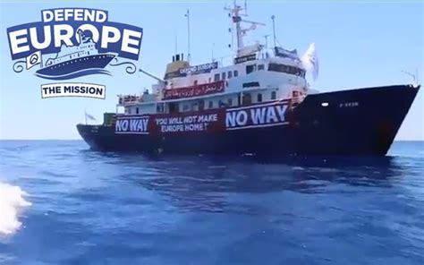 Aquarius Bateau Soros by Anti Invasion Defend Europe Ship Arrives Off Libyan