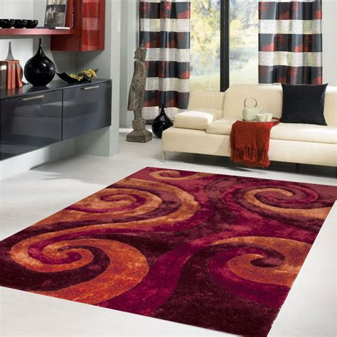 Living Room With Burgundy Rug by Contemporary Living Room With Swirls Shaggy Rug Burgundy