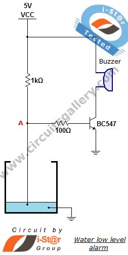 Low Water Level Indicator Alarm Circuit For Tank