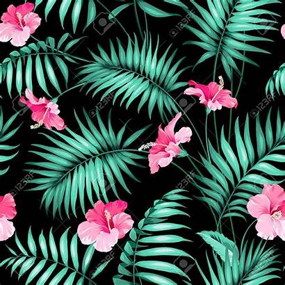 Tropical Jungle Texture Flowers Seamless Floral Hawaii