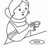 Wok Template Tomando Cafe sketch template