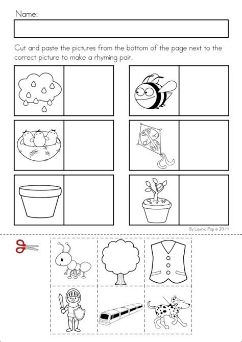 rhyming cut and paste worksheets for kindergarten 12 best images of kindergarten rhyming worksheets cut and