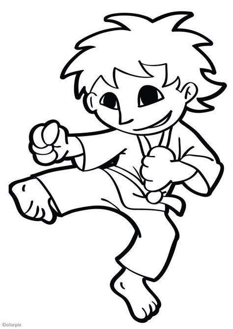 coloring page karate  printable coloring pages