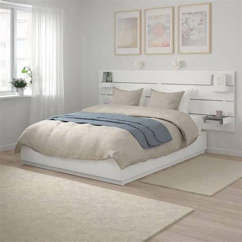 nordli bed  headboard  storage white