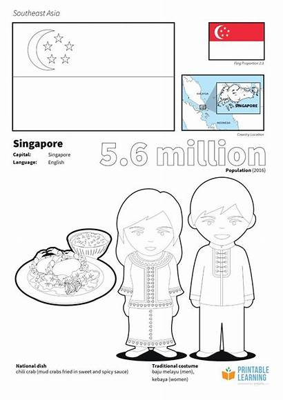 Singapore Coloring Flag Printable Learning Flags Asia