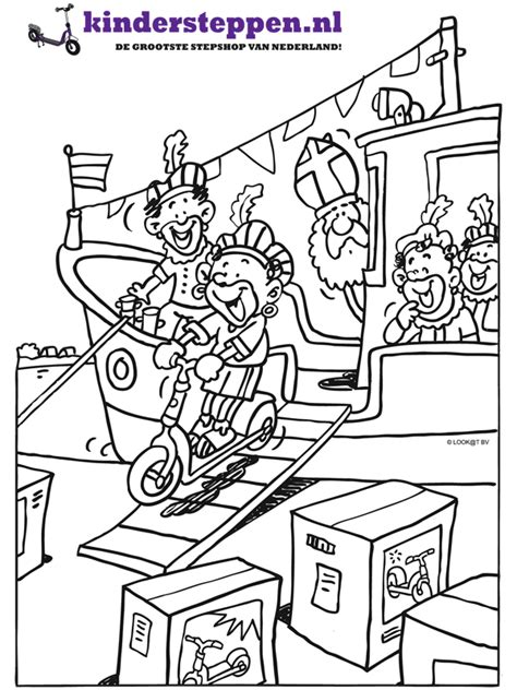 Kleurplaat Sint En Piet Op Fiets by Kleurplaat Sint En Piet Komen Aan In De Kleurplaten Nl