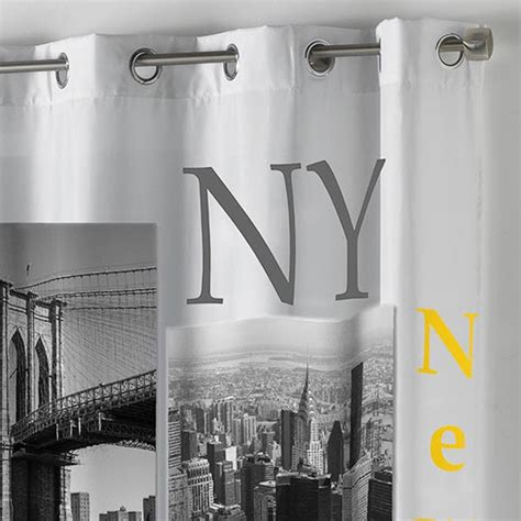 rideau quot new york yellow quot 140x260cm blanc