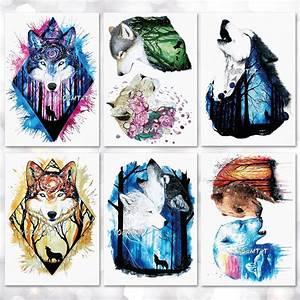 Waterproof Temporary Tattoo Sticker Watercolor wolf tiger ...