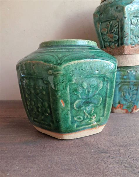 large green ginger jar pot chinese drip green glaze asian