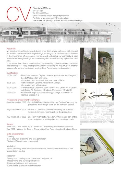 Architecture Resume About Me by Curriculum Vitae By Wilson Issuu